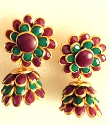 Buy Maroon green pachhi jhumka traditional pachi jewelry k1mg gifts-for-wife online