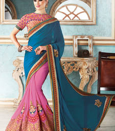 Buy Blue  and  Pink embroidered georgette saree with blouse party-wear-saree online