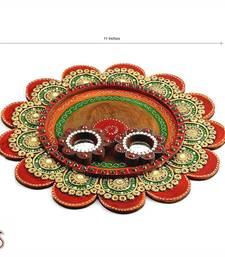 Buy Painted Clay Work Wooden  Pooja Thali  other-home-accessory online