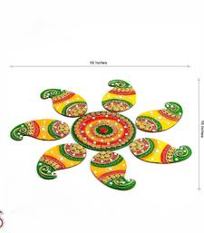 Buy Handmade Wood and Clay Floral Floor Art { Rangoli } diwali-decoration online