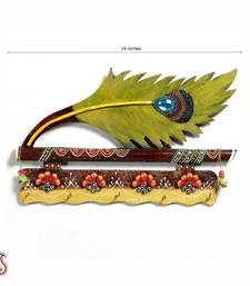 Buy Bansuri and Peacock Feather Wood and Clay Key Holder diwali-corporate-gift online