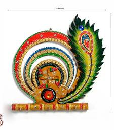 Buy Swastika and Peacock Feather Wood and Clay Key Holder diwali-corporate-gift online