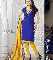 Buy KING SALES NEW LATEST FANCY BLUE AND YELLOW BANARASI LACE WORK HEAVY INDO CHUDIDAR SUIT salwars-and-churidar online