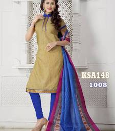 Buy KING SALES NEW LATEST FANCY CREAM AND BLUE BANARASI LACE WORK HEAVY INDO CHUDIDAR SUIT salwars-and-churidar online