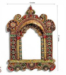 Buy Painted Wood and clay work Jharokha with kundans other-home-accessory online