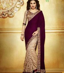 Buy Shopping Queen Maroon velvet palllu saree velvet-saree online