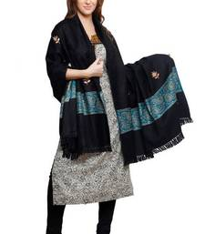 Buy Black Pure wool Shawl with border and tassels shawl online