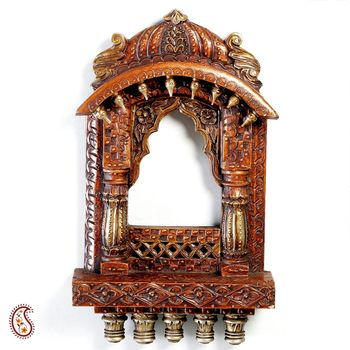 Buy rustic wooden window jharoka with carved accents online for Buy wood windows online