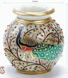 Buy Hand Painted Peacock Marble Pot with Gold Paint and Kundan work vase online