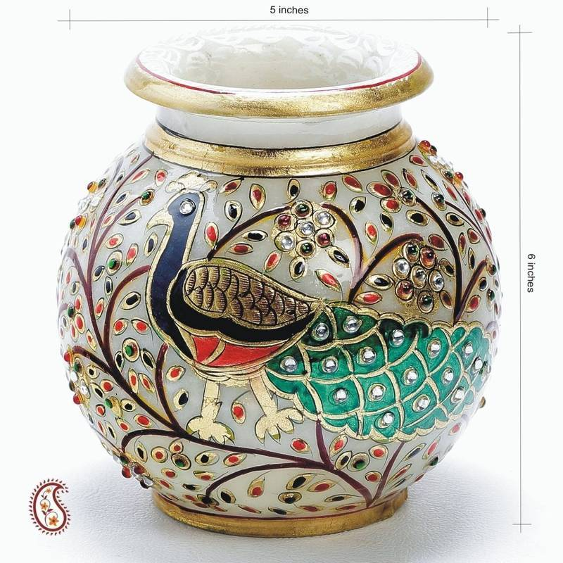 Buy hand painted peacock marble pot with gold paint and for Design patterns for pot painting