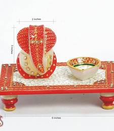 Buy Rectangle Chowki with Ganapati and Diya in white marble other-home-accessory online