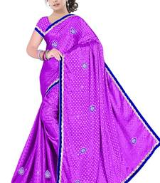 Buy Purple embroidered satin saree with blouse satin-saree online