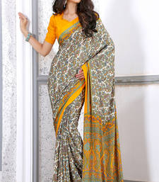 Buy Off White printed crepe saree with blouse crepe-saree online