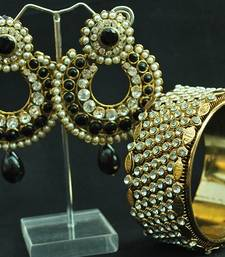 Designer Black Ram Leela Earrings & Stone Kada