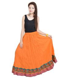 Buy A Beautiful Rajasthani Ornage Skirt With Designer Border skirt online