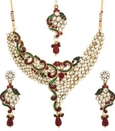 Buy Luxor Designer Kundan Maroon and Green Necklace Set Mother's Day Gift For Women NK-1813 necklace-set online