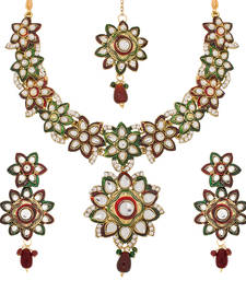 Buy Luxor Traditional Kundan & Meenakari Maroon and Green Necklace Set Mother's Day Gift For Women necklace-set online