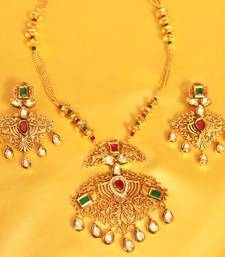 Buy Kundan Meenakari Filigree Antique Pendant Set necklace-set online