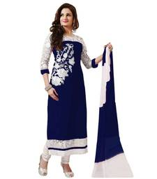 Buy Beautifull Fancy Monika Blue Color Embriodered Anarkali suit salwars-and-churidar online