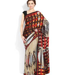 Buy beige printed crepe saree with blouse crepe-saree online