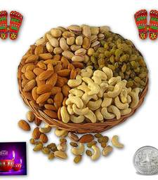 Buy Assorted Dryfuits 200 gms With Spiritual wooden steps diwali-dry-fruit online