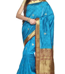 Buy blue plain silk saree with blouse wedding-saree online