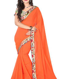 Buy Orange Faux Georgette Saree with Unstitched Blouse georgette-saree online