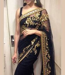 Buy black and gold embroidered net saree with blouse deepika-padukone-saree online