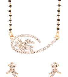 Buy Cz Encrusted Single Strand Mangalsutra Set With Floral-Drop Pendant mangalsutra online