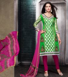 Buy Green and Pink embroidered Chanderi unstitched salwar with dupatta dress-material online
