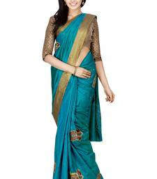 Buy Green embroidered silk saree with blouse heavy-work-saree online