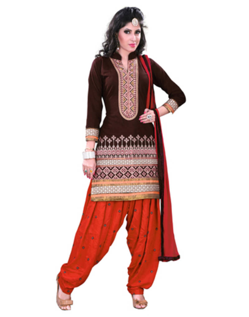 Buy brown embroidered cotton dress material online