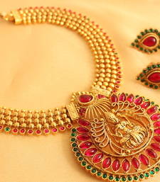 Buy Mesmerising  antique pink-green   lakshmi pendant necklace set waist-belt online