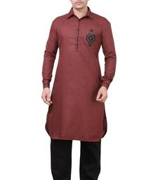 Buy Wine Pathani Suits kurta-pajama online
