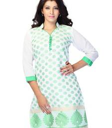 Buy White Printed Jacquard 3/4th Sleeves Kurti kurtas-and-kurti online