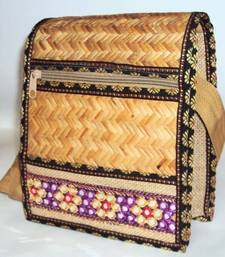 Buy Ladies' Cane woven Jute shoulder hanging bag with Embroidery  handbag online