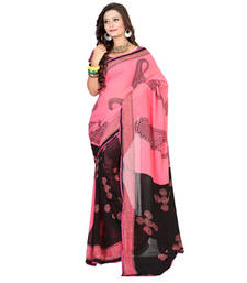 Buy Pink and Black  printed georgette saree with blouse party-wear-saree online