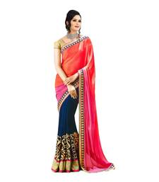 Buy Orange and Blue embroidered georgette saree with blouse half-saree online