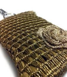 Buy Smart Phone Crochet Covers | Copper Zari | Light Golden Zari Flower phone-case online