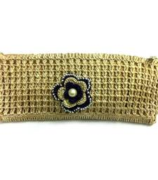 Buy Crochet Clutch with Motif in Beige clutch online