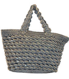 Buy Sequins Crochet Small Handbag | Ash Grey clutch online