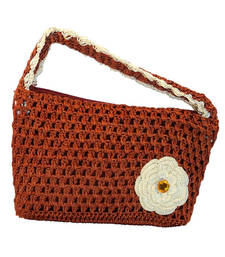 Buy One Flower Crochet Clutch | Bright Brown handbag online
