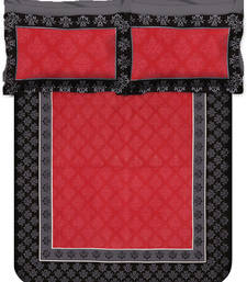 Buy Jaipuri Sanagari Print Red,Black Double Bed Sheet With 2 Pillow Covers bed-sheet online