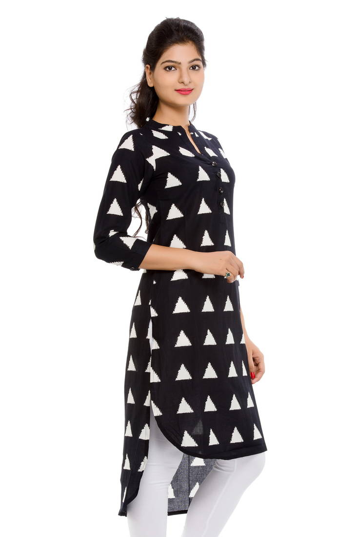 Stand Collar Designs For Kurti : Buy long short triangle print stand collared kurta online