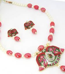 Buy Meenakari Open Flower Pendant Set Vibrant Red Green Necklace online