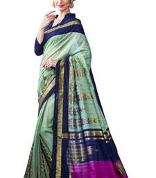 Buy multicolor printed art silk saree  with golden foile work with  blouse art-silk-saree online