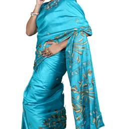 Buy Cyan embroidered silk saree with blouse tussar-silk-saree online