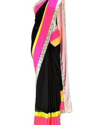 Buy Black and  Pink  and  Silver Georgette Saree With Dupion Silk Blouse bollywood-saree online