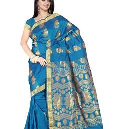 Traditional Celestial blue Silk Zari Border Party Wea Saree PS168 shop online