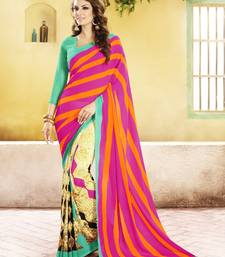 Buy Pink and  Green Printed Georgette Saree with blouse georgette-saree online